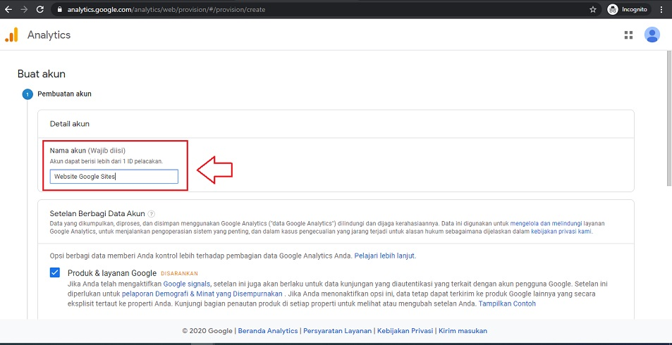 Beri Nama Akun Google Analytics
