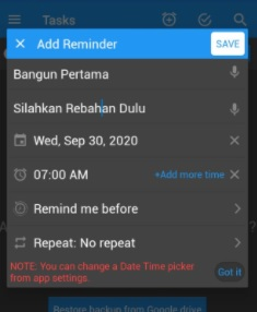 Screenshot Setting Aplikasi To Do Reminder